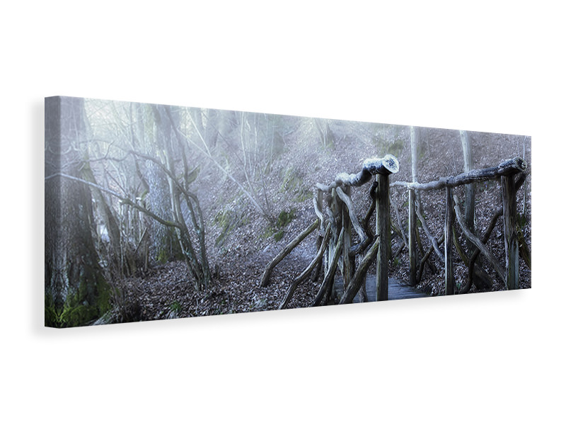 Panoramic Canvas Print Old wooden bridge in the forest