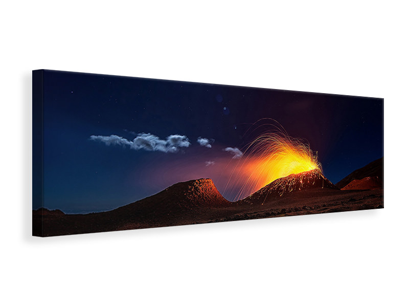 Panoramic Canvas Print Lava Flow With The Moon
