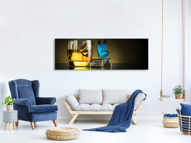 Tableau sur Toile Panoramique Butterfly Drink