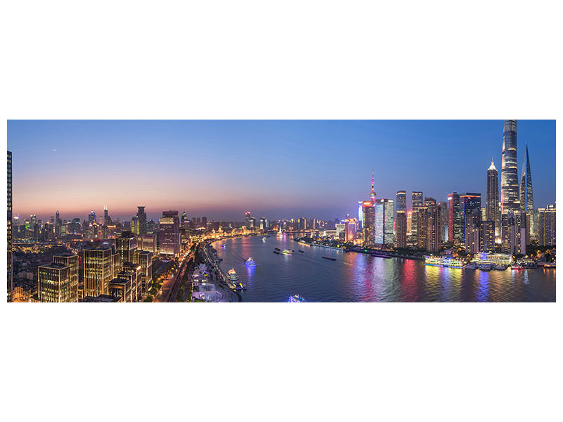 Panoramic Canvas Print The Blue Hour In Shanghai