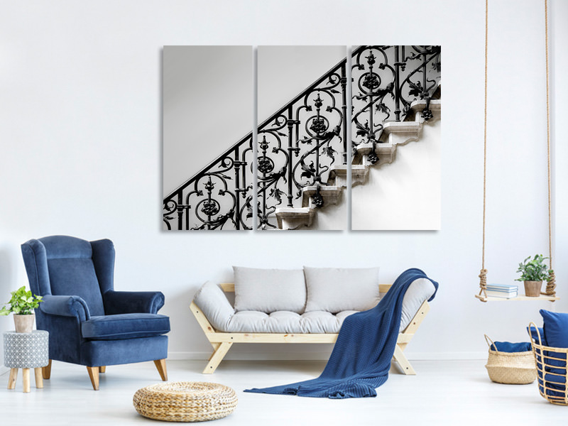 3 Piece Canvas Print Forged Handrail