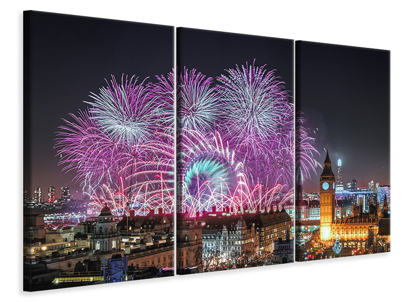 3 Piece Canvas Print New Year Fireworks