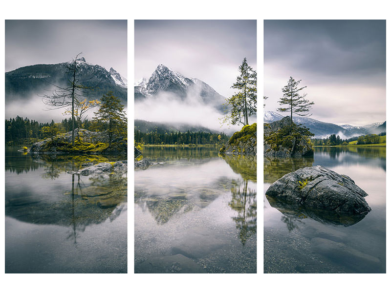 3 Piece Canvas Print Rainy Morning At Hintersee