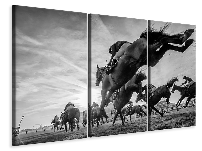 3 Piece Canvas Print Cheltenham Jumps Festival