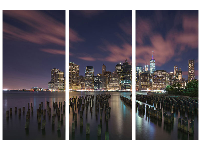 Stampa su tela 3 pezzi New York City At Night