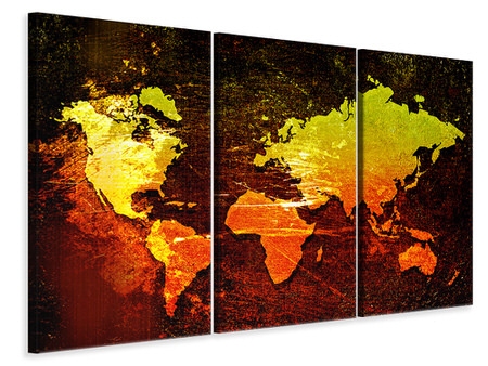 3 Piece Canvas Print Retro World Map