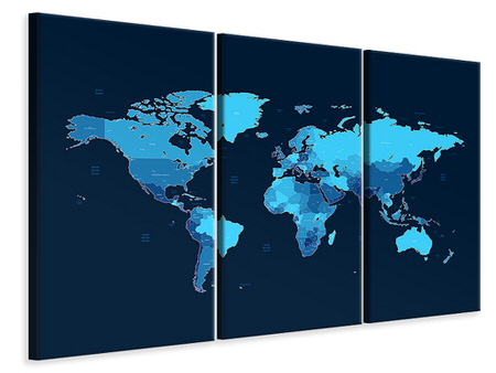 3 Piece Canvas Print World Map