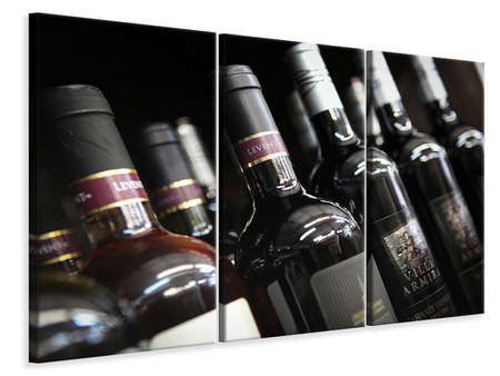 3 Piece Canvas Print Bottled Wines