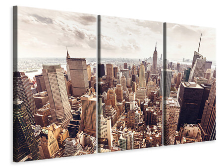 3 Piece Canvas Print Skyline Over The Roofs Of Manhattan