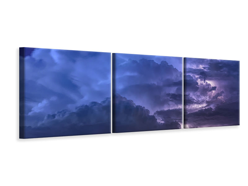 Panoramic 3 Piece Canvas Print Lightning in the sky