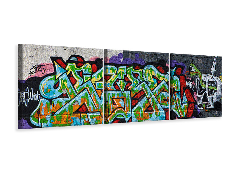 Panoramic 3 Piece Canvas Print Graffiti In New York