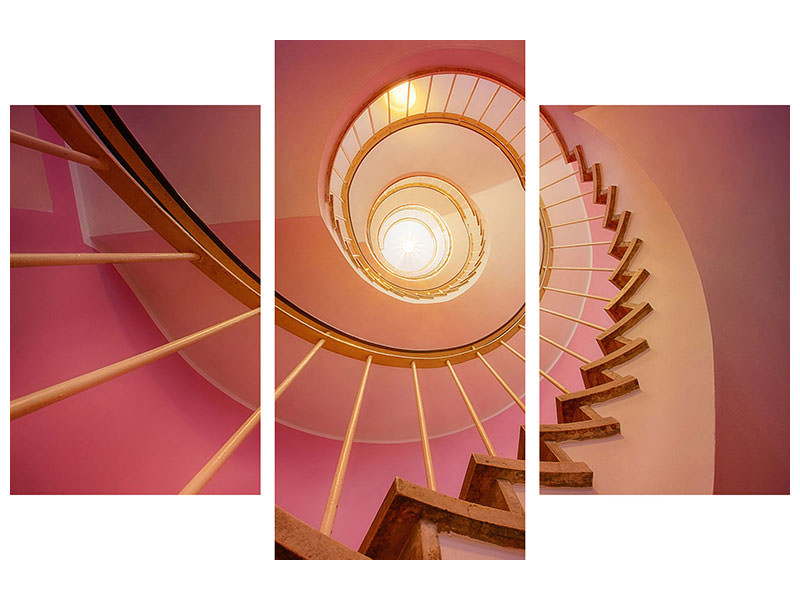 Modern 3 Piece Canvas Print Spiral staircase in pink