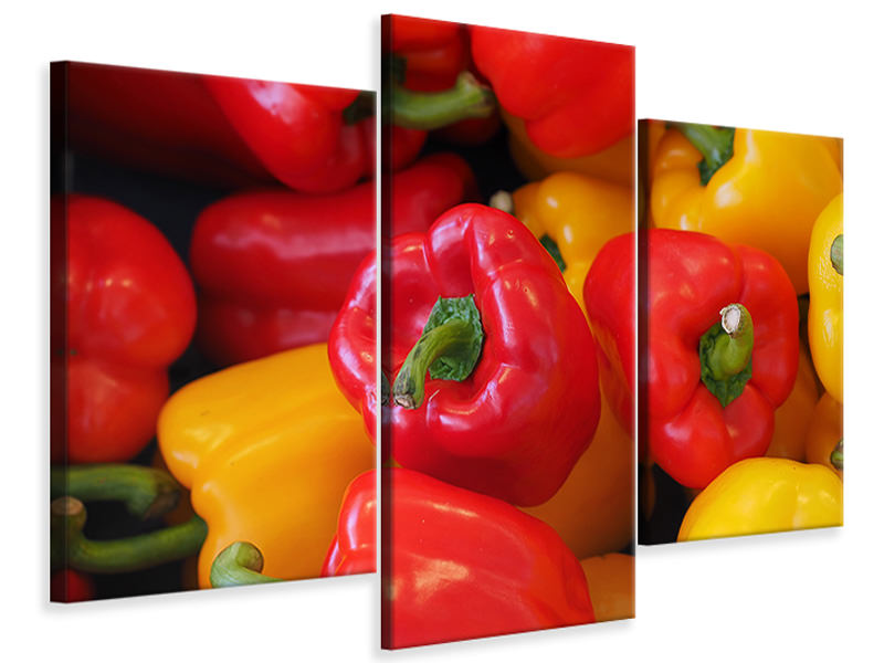 Modern 3 Piece Canvas Print Fresh sweet pepper