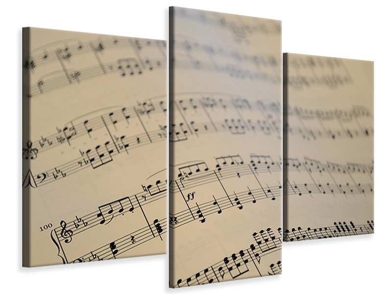 Modern 3 Piece Canvas Print The music notes