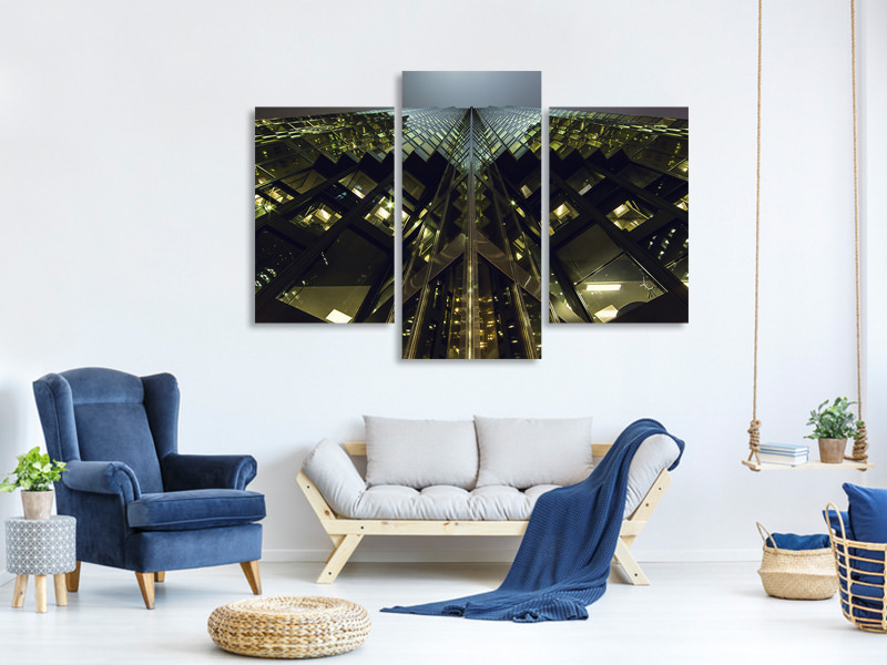 Modern 3 Piece Canvas Print Imposing architecture at night