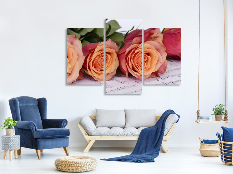 Modern 3 Piece Canvas Print Notes of love