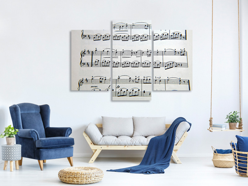 Modern 3 Piece Canvas Print Music notes