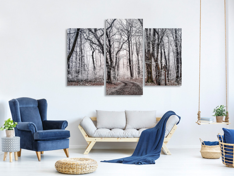 Modern 3 Piece Canvas Print Wintry forest