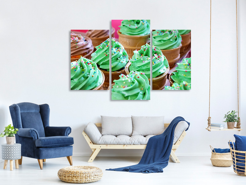 Modern 3 Piece Canvas Print Soft ice cream