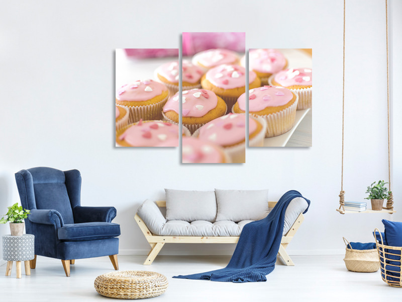 Modern 3 Piece Canvas Print Sweet cupcake