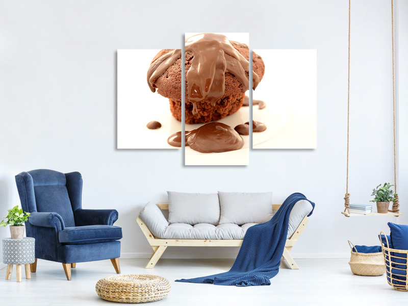 Modern 3 Piece Canvas Print Muffin with chocolate