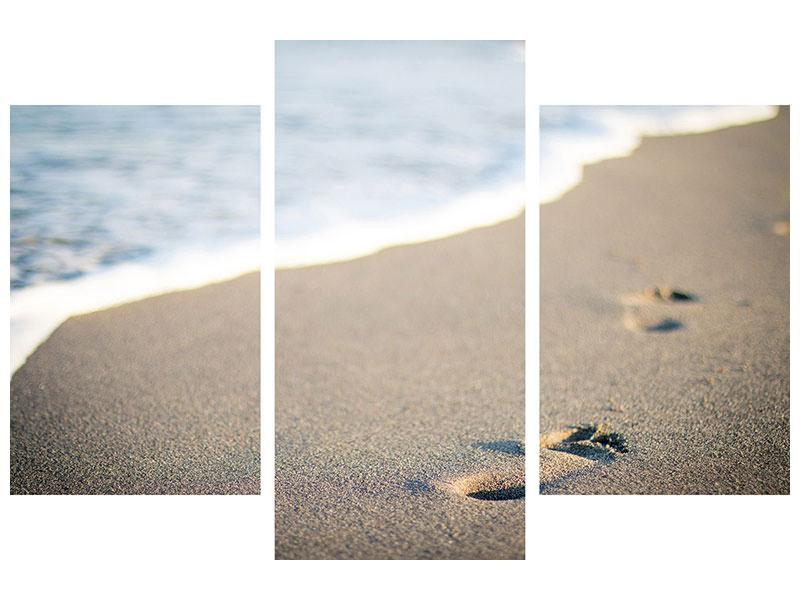 Modern 3 Piece Canvas Print Footprints in the sand on the beach