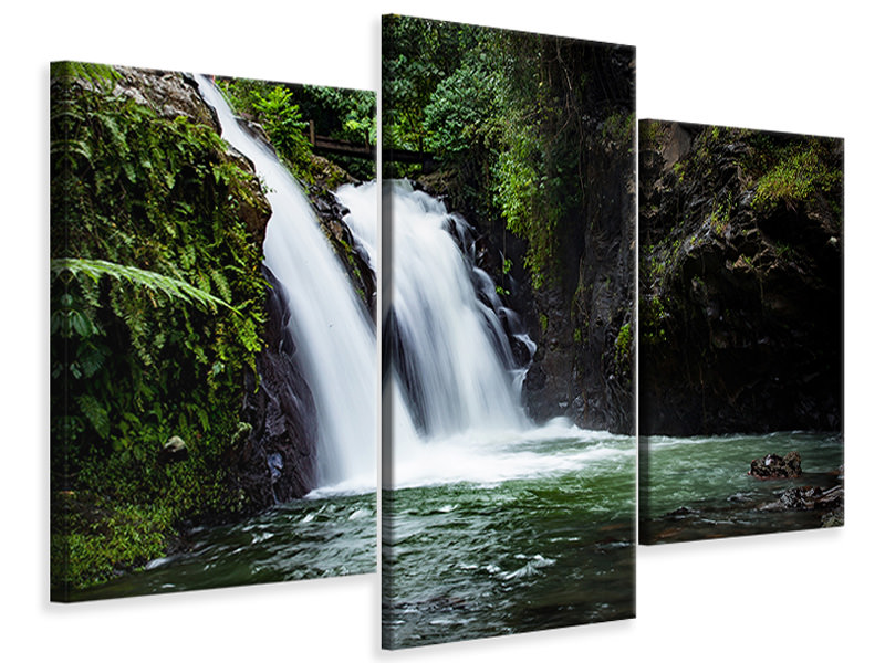 Modern 3 Piece Canvas Print Waterfall in the evening light