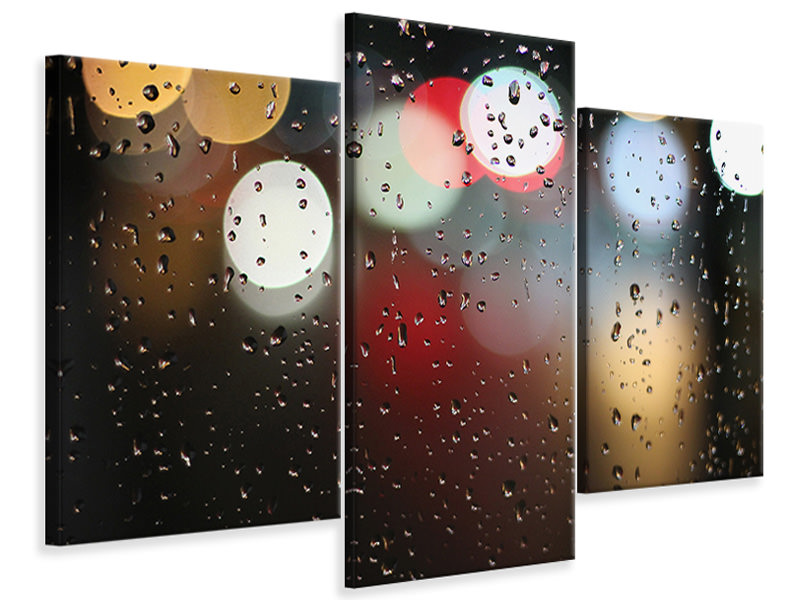 Modern 3 Piece Canvas Print Illuminated water drops