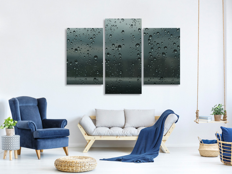 Modern 3 Piece Canvas Print Shiny drops of water