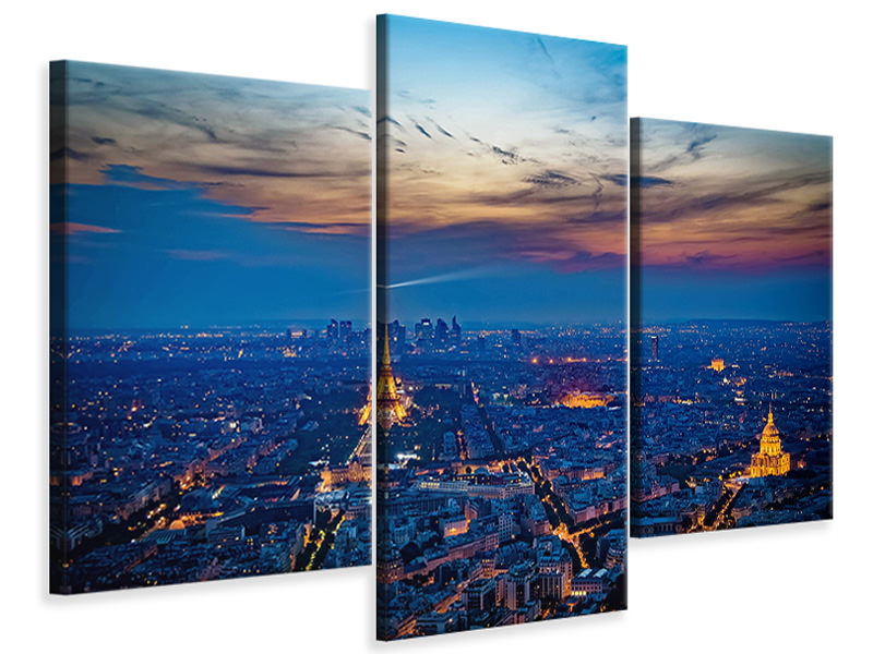Modern 3 Piece Canvas Print The Eiffel Tower in France