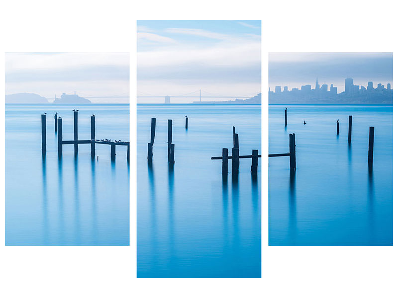 Tableau sur toile en 3 parties moderne The Old Pier Of Sausalito