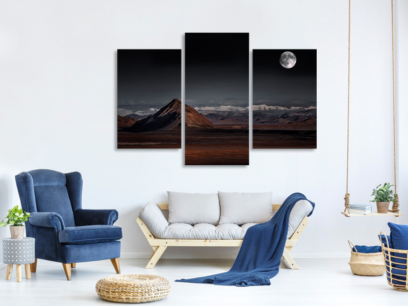 Modern 3 Piece Canvas Print Moon Night