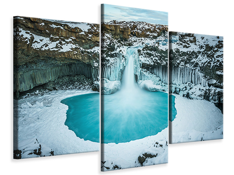 Modern 3 Piece Canvas Print Azure Blue Bliss