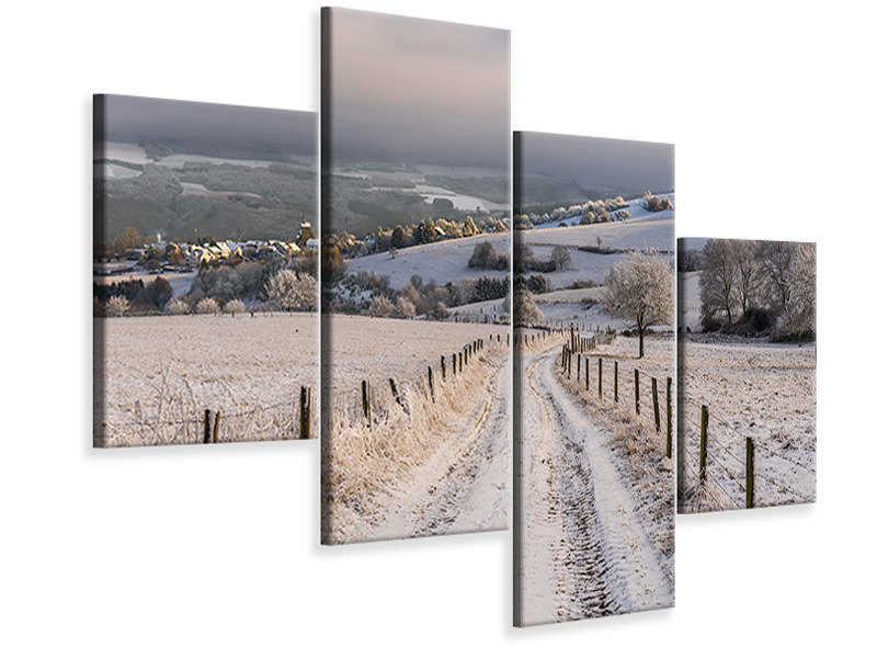 Modern 4 Piece Canvas Print Winter Wonderland