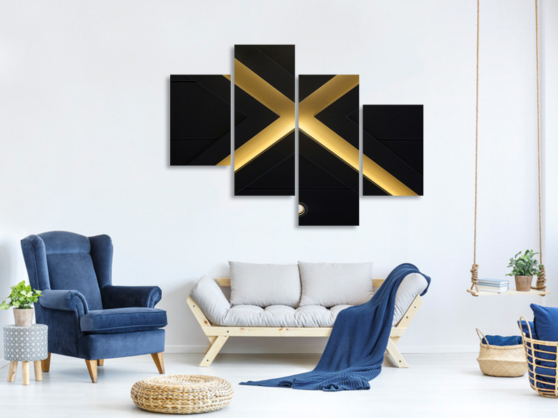 Modern 4 Piece Canvas Print Xing
