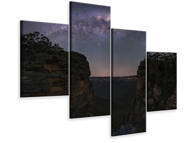 Leinwandbild 4-teilig modern Night Sky Over Blue Mountains