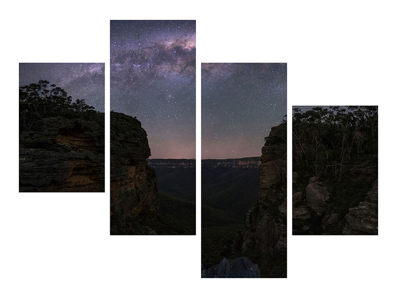 Stampa su tela 4 pezzi moderno Night Sky Over Blue Mountains