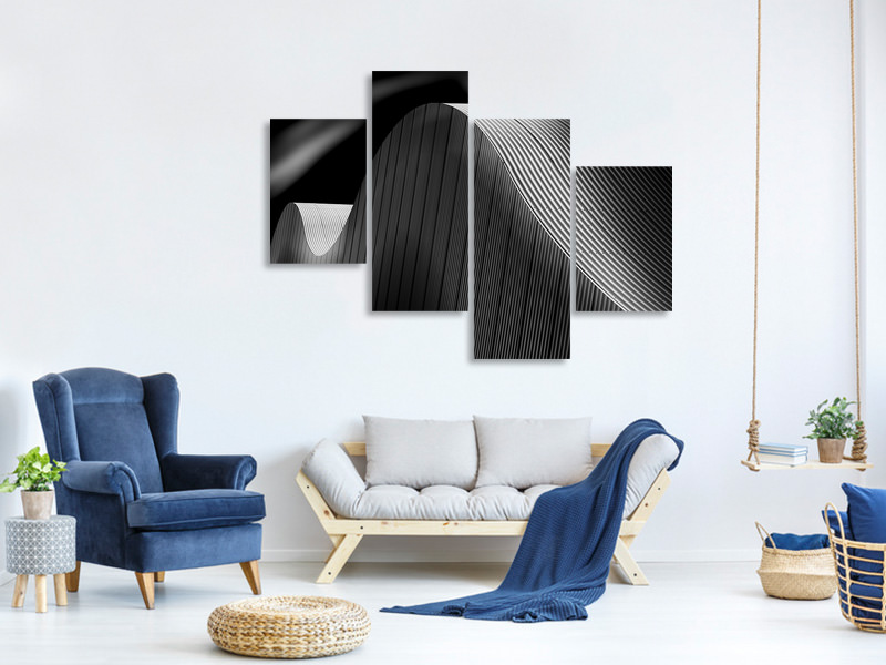 Modern 4 Piece Canvas Print Smooth Lines