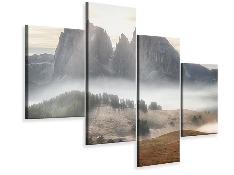 Modern 4 Piece Canvas Print Misty Mountains A