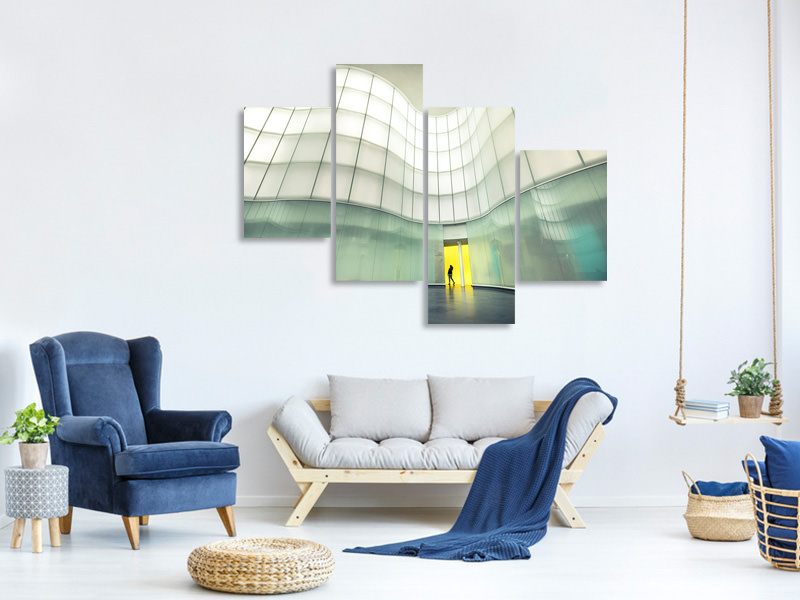 Modern 4 Piece Canvas Print Lights And Colors