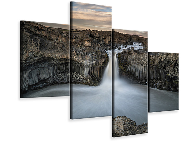Modern 4 Piece Canvas Print Aldeyjarfoss Waterfall North Iceland