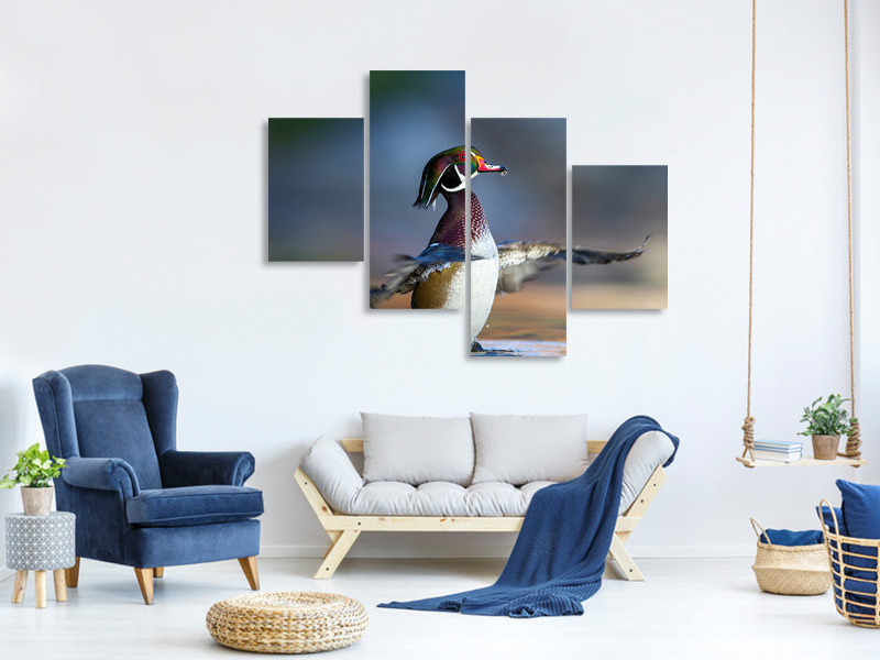 Modern 4 Piece Canvas Print Showing Off