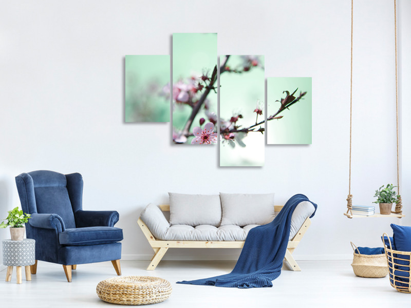 Modern 4 Piece Canvas Print Beautiful Japanese Cherry Blossom