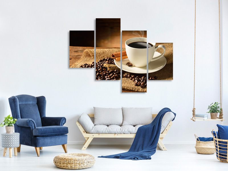 Modern 4 Piece Canvas Print Coffee Break