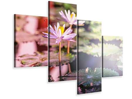 Modern 4 Piece Canvas Print Lilies In Pond