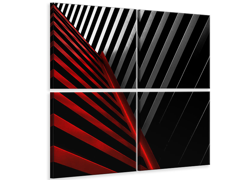 4 Piece Canvas Print Silver Red