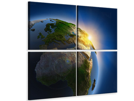 4 Piece Canvas Print Sun And Earth