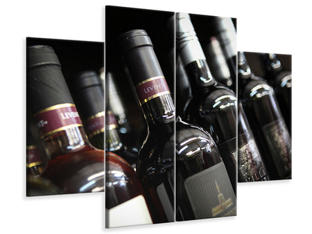 4 Piece Canvas Print Bottled Wines