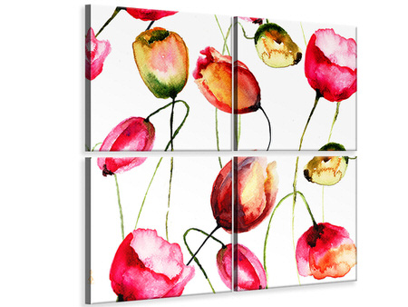 4 Piece Canvas Print Painting The Tulips
