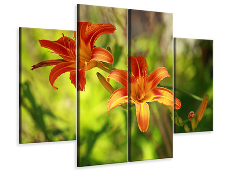 4 Piece Canvas Print Lilies In Nature